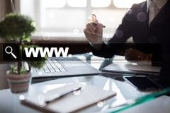 Search bar with www text. Web site, URL. Digital marketing. technology concept. Stock Image