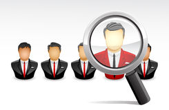Search the best Employee. Vector Illustration of searching one the best of lots employee using a magnifying glass Royalty Free Stock Photo