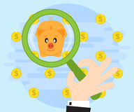 Search for best investment of savings and wealth accumulation. Of the many offers the best choice. Flat style, vector Stock Photography