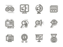 Search black line icons set. Internet research symbols. SEO, SMM, solutions search. Set of black simple line icons. Design elements for website, mobile and Royalty Free Stock Image