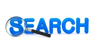 Search - Blue 3D Word Through a Magnifying Glass. Search - Blue 3D Word Through a Magnifying Glass on White Background Stock Photos