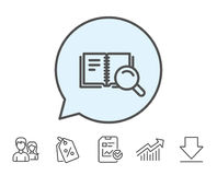 Search in Book line icon. Education symbol. Stock Photography