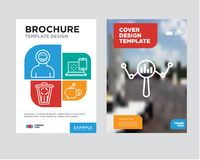 Search brochure flyer design template. With abstract photo background, money box, internet, trash, astronaut minimalist trend business corporate roll up or Royalty Free Stock Photography