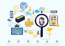 Vector search business communications worldwide for commercial success. Marketing, financial icons flat design Stock Photo