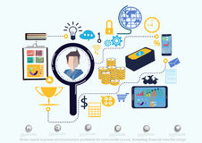 Vector search business communications worldwide for commercial success. Marketing, financial icons flat design. Search business communications worldwide for Royalty Free Stock Image