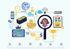 Vector search business communications worldwide for commercial success. Marketing, financial icons flat design. Search business communications worldwide for Royalty Free Stock Photos