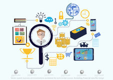 Vector search business communications worldwide for commercial success. Marketing, financial icons flat design. Search business communications worldwide for Royalty Free Stock Photo