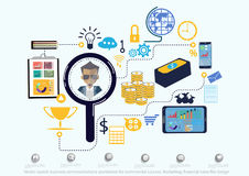 Vector search business communications worldwide for commercial success. Marketing, financial icons flat design. Search business communications worldwide for Stock Images