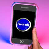 Search Button On Mobile Shows Internet Access Royalty Free Stock Images