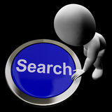 Search Button Showing Internet Access And Online Researching. Search Button Shows Internet Access And Online Researching Stock Photography