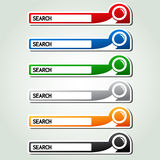 Search buttons, stickers with magnifier symbol Royalty Free Stock Image