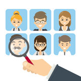 Search for candidates. Set of images of employees. Hand with magnifying glass stock illustration