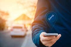 Free Search Car Service On Smart Phone Stock Image - 180841221