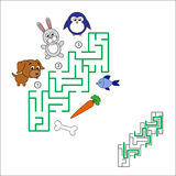 Search and choose correct path. Find hidden right way. Task and answer. Maze game for children. Search and choose correct path Royalty Free Stock Photography
