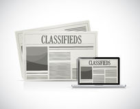 Search for classifieds on a computer illustration Royalty Free Stock Image