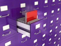 Search concept. 3d render of file drawer with red folder. Search concept Stock Photos