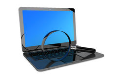 Search Concept. Laptop and magnifier Stock Images