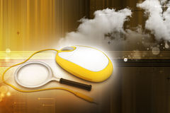 Search Concept. Magnifying Glass with Computer mouse Stock Photo