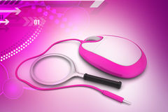 Search Concept. Magnifying Glass with Computer mouse Royalty Free Stock Photo