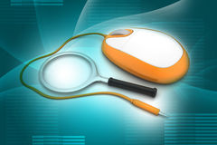 Search Concept. Magnifying Glass with Computer mouse Royalty Free Stock Images