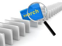 Search concept. Yellow 3d text search on reflective blue rectangle placed observably in a group of white rectangles Stock Photos