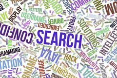 Search, conceptual word cloud for business, information technology or IT. Search, IT, information technology conceptual word cloud for for design wallpaper Stock Photo