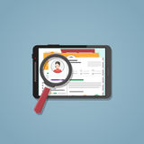 Search cv on the tablet Stock Image