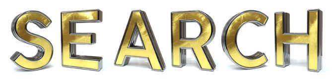 Search golden text. Search 3d rendered gold and silver color text on white Royalty Free Stock Photography
