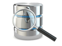 Search data. Database and loupe. Stock Photo