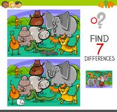 Search differences game with animals. Cartoon Illustration of Searching Differences Between Pictures Educational Activity Game for Children with Animal Stock Photography