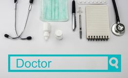 Search in the doctor`s network, stock photography