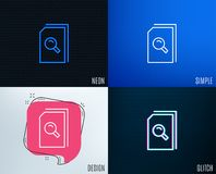 Search Documents line icon. File with Magnifier. Glitch, Neon effect. Search Documents line icon. File with Magnifying glass sign. Paper page concept symbol Stock Images