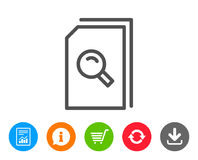 Search Documents line icon. File with Magnifier. Search Documents line icon. File with Magnifying glass sign. Paper page concept symbol. Report, Information and Royalty Free Stock Image