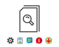 Search Documents line icon. File with Magnifier. Search Documents line icon. File with Magnifying glass sign. Paper page concept symbol. Report, Service and Stock Photos