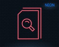Search Documents line icon. File with Magnifier. Neon light. Search Documents line icon. File with Magnifying glass sign. Paper page concept symbol. Glowing Royalty Free Stock Photos