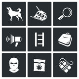 Search dog and crime icons set. Vector Illustration. Royalty Free Stock Photography