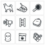 Search dog and crime icons set. Vector Illustration. Stock Photo