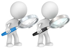Search. The Dude holding magnifying glass. Side view. 2 color versions Stock Images