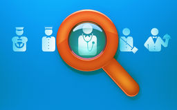Search employee. Illustration of search workers of different professions Stock Photo