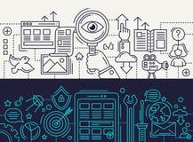 Search Engine, App Development - line design banners set Royalty Free Stock Photos