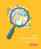 Search engine flat illustration with magnifying glass Royalty Free Stock Photography