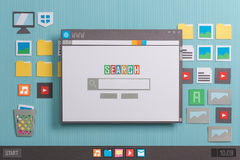 Search engine home page. With search bar on a browser window, collage and paper cut composition stock image