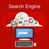 Search engine illustration. Flat design illustration concepts for internet. Contents, media digital, internet cloud storage, internet searching Stock Photos