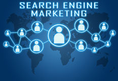 Search Engine Marketing. Concept on blue background with world map and social icons Royalty Free Stock Photo