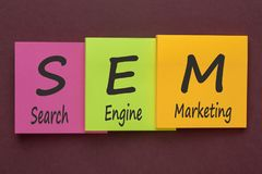 Search Engine Marketing Аcronym Concept. Search Engine Marketing words with SEM written on color notes. Аcronym business concept Stock Photography