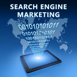 Search Engine Marketing. Illustration with tablet computer on blue background Royalty Free Stock Image
