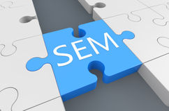 Search Engine Marketing. Puzzle 3d render illustration Royalty Free Stock Photos