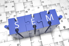 Search Engine Marketing. Puzzle 3d render illustration Royalty Free Stock Images