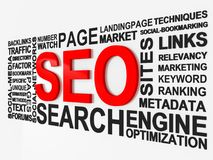 Search Engine Optimization. SEO surrounded by relevant phrases Stock Images