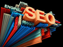 Search engine optimization. Concept on black Stock Image